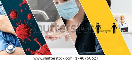 Coronavirus COVID-19 image set banner in concept of prevention information including safety precaution and doctor service to prevent spreading infection of covid-19 or 2019 Coronavirus Disease. Royalty-Free Stock Photo #1748750627