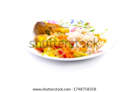 """A picture of """"nasi dagang"""" on isolated white background. Nasi dagang is a Malaysian dish consisting of rice steamed in coconut milk, fish curry and pickles."""