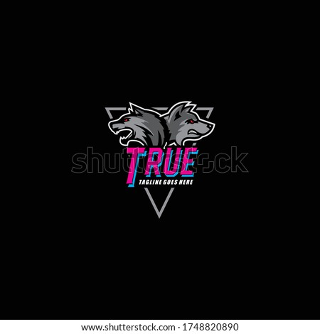 Two Fox Heads, tactical team, Airsoft pistol or the Paintball club logo. Design elements for company logos, labels, emblems, clothing or other merchandise. Scalable and editable vector illustration