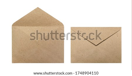 Opened and closed brown craft envelopes isolated on a white background Royalty-Free Stock Photo #1748904110