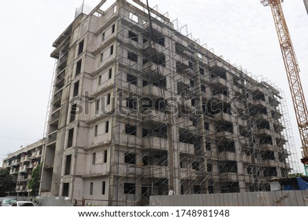 The building is not being completed yet, in order to build a high-rise buildings, with many layers of steel arranged, without workers. Location Bangkok Thailand, take photo 30/05/2020 #1748981948