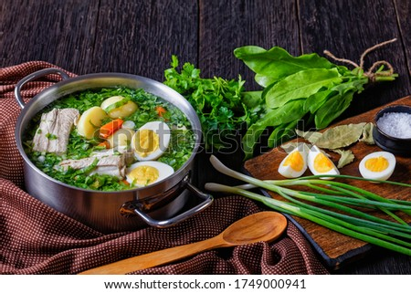 Collard greens classic sorrel soup of fresh sorrel, green onion with pork ribs, young potato, carrot, and boiled eggs, served in a stock pot on a wooden background with ingredients, close-up