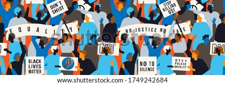Protests across America.People with streamer and signs protesting for Black Lives Matter movement . Vector illustration. Seamless pattern. Royalty-Free Stock Photo #1749242684