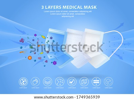 set of three layer surgical mask or fluid resistant medical face mask material or air flow illustration protection medical mask concept. eps 10 vector, easy to modify #1749365939