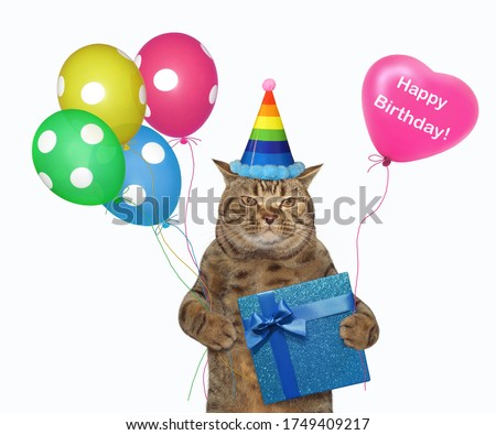 The beige cat in a birthday hat is holding a blue gift box and multi-colored balloons. White background. Isolated.