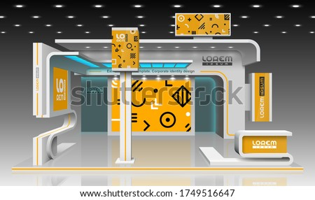 Orange exhibition stand design with geometric pattern. Booth template. Corporate identity Royalty-Free Stock Photo #1749516647