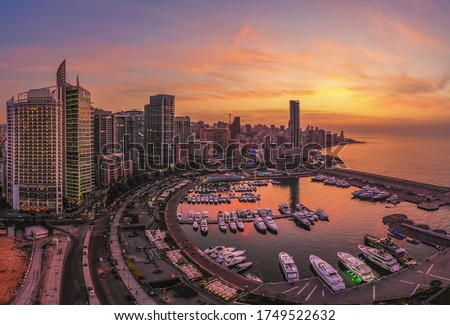 Aerial photo of Zaitunay Bay Beirut at sunset time Royalty-Free Stock Photo #1749522632