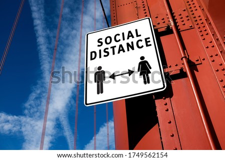 SOCIAL DISTANCE sign informing people to stay apart  keep away from each other,prevention  protection of Coronavirus spread  transfer,COVID-19 pandemic outbreak,new normal rules  regulations