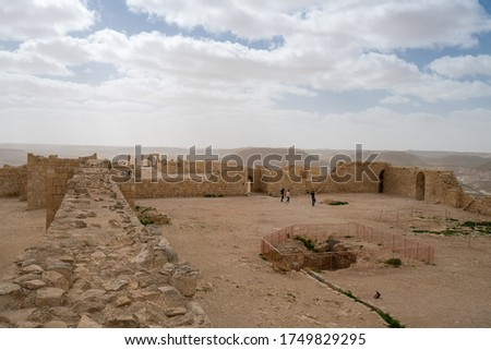 Scenic spring view of the ruined Ancient Nabataean city of Avdat, now a national Park, in the Israel's Negev Desert, Southern Israel. #1749829295