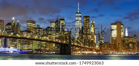 New York City skyline night Manhattan panoramic view Brooklyn Bridge World Trade Center WTC