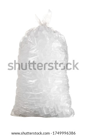 Ice cubes in plastic bag isolated with a pen tool created path in the file against a white background