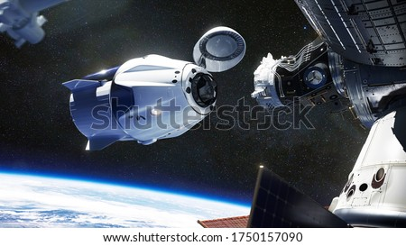 SpaceX Crew Dragon spacecraft docking to the International Space Station. Dragon is capable of carrying up to 7 passengers to and from Earth orbit, and beyond. Elements of this image furnished by NASA #1750157090