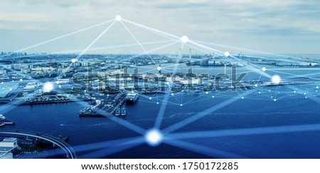 Modern port and ships aerial view and communication network concept. Ship radio. 5G. IoT. #1750172285