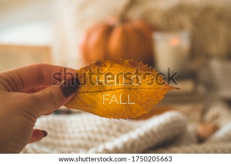 Hello Fall. Woman holds an orange-gold autumn leaf in her hands.