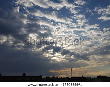 Sky with full of clouds, Cloud pics with sun on rise