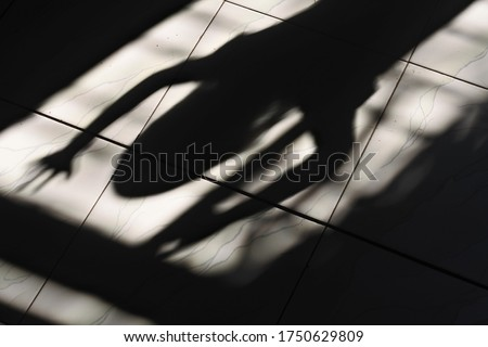 the shadow of the little girl on the window trellis with the impression of horror #1750629809