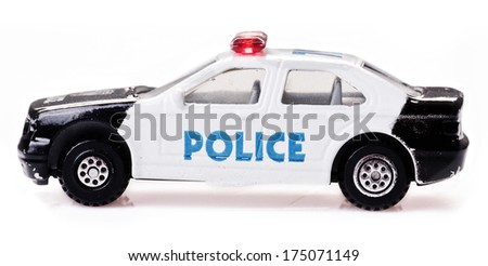 toy police car on a white background
