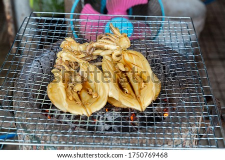Grilled Cuttlefish on a charcoal stove. Grilled squid is very tasty.Can found at street food,Thailand. BBQ Grill On Hot Charcoal.Grilled fresh squid on a grill with charcoal grill. #1750769468