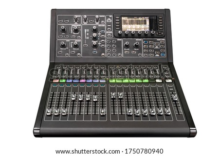 Audio sound mixer console isolated on white background