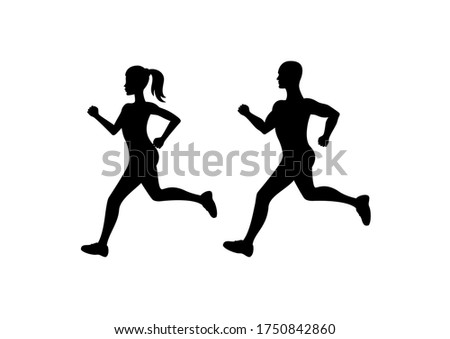 Running man and woman silhouette icon. Running people clip art. Attractive fitness girl and boy silhouette. Runners couple icon
