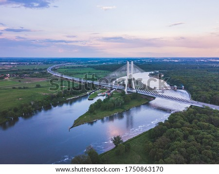 Modern bridge over the Oder river in Poland Royalty-Free Stock Photo #1750863170