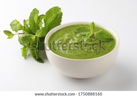 Fresh Green Mint Chutney Made with Coriander, Pudina or mint. #1750888160