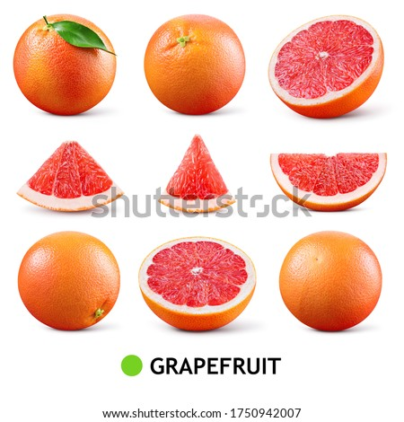 Grapefruit isolated. Pink grapefruit with leaf. Grapefruit whole, slice, half on white. Grapefruit set isolate. Full depth of field. #1750942007