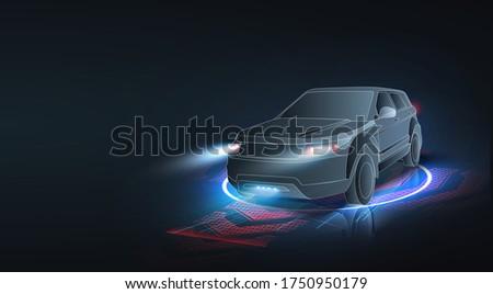 Automatic braking system avoid car crash from car accident. Concept for driver assistance systems. Autonomous car. Driverless car. Self driving vehicle. Future concepts smart auto. HUD, GUI, hologram #1750950179