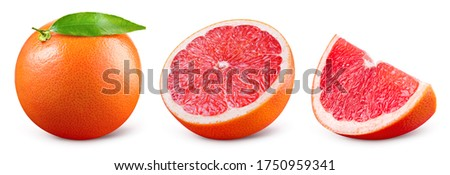 Grapefruit isolated. Pink grapefruit with leaf. Grapefruit whole, slice, half on white. Grapefruit set isolate. With clipping path. Full depth of field. #1750959341