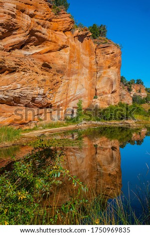 Huge slopes of red sandstone. Small puddle reflects rocks and sky. Paria Canyon-Vermilion Cliffs Wilderness Area. Arizona, Utah. USA. The concept of active, extreme and photo tourism #1750969835