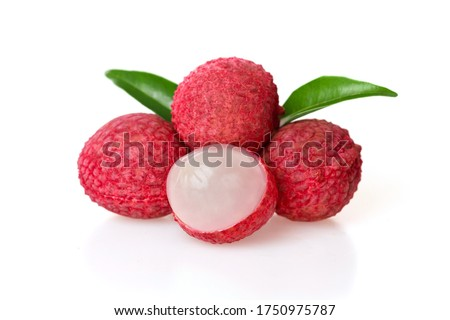 Close up of fresh tropical fruits Fresh red lychee fruit and peeled lychee decorated with green leaves, Lychee has a sweet and sour taste, isolated on white background #1750975787