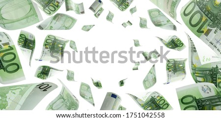 Counting euro banknote falling isolated. Money cash texture on white background.