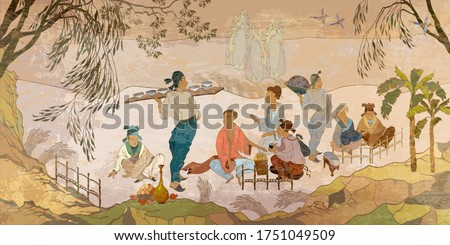 Ancient China. Oriental people. Tea ceremony. Traditional Chinese paintings. Tradition and culture of Asia. Classic wall drawing. Murals and watercolor asian style. Hand-drawn vector illustration Royalty-Free Stock Photo #1751049509
