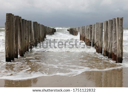 Wooden piles or groynes. The breakwaters at the coast of the Netherlands. Photo made on the beach between Domburg and Oostkapelle at a cloudy and stormy day. Royalty-Free Stock Photo #1751122832