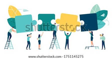 Business concept. Team metaphor. people connecting puzzle elements. Vector illustration flat design style. Symbol of teamwork, cooperation, partnership vector Royalty-Free Stock Photo #1751145275