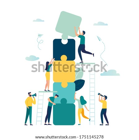 Business concept. Team metaphor. people connecting puzzle elements. Vector illustration flat design style. Symbol of teamwork, cooperation, partnership  vector Royalty-Free Stock Photo #1751145278