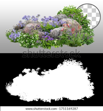 Cutout rock surrounded by flowers. Garden design isolated on transparent background via an alpha channel. Flowering shrub and green plants for landscaping. Decorative shrub and flower bed. #1751169287