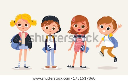 Set of school kids with school supplies.Pupils with books and backpacks. vector.Set of preschoolers children teenagers characters in different poses,clothes,wear. Children fashion models.Kids apparel. #1751517860