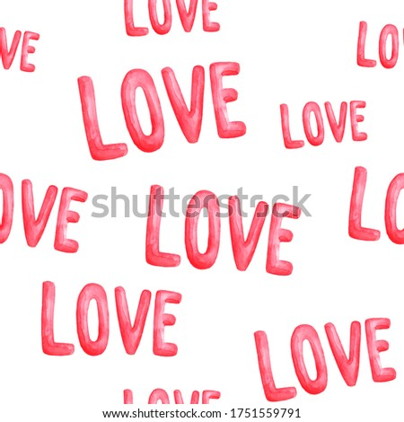 pattern inscription love valentines day watercolor illustration