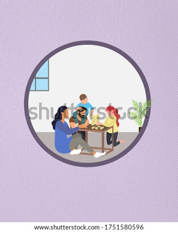 Family game playing clip art image