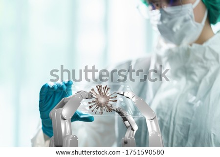 Doctor in hazmat suit holding transparent tablet to control white mechanical robotic arm with red virus. coronavirus concept. 3d #1751590580