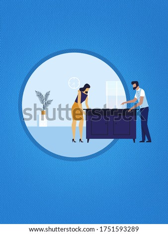 Give a new look by re-arrange home furniture with your family clip art image