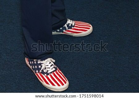July 4th, Independence day celebration, sneakers with a picture of the American flag.