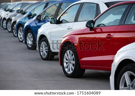 Cars in a row. Used car sales Royalty-Free Stock Photo #1751604089