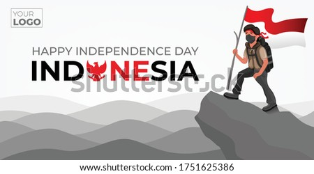 Indonesian Independence day banner background with the illustration of A Mountaineer cartoon character.