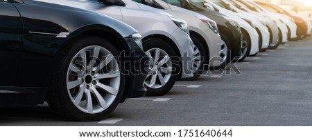 Cars in a row. Used car sales Royalty-Free Stock Photo #1751640644