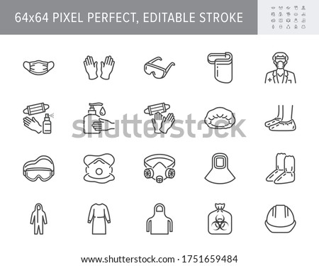 Medical PPE line icons. Vector illustration included icon as face mask, gloves, doctor gown, hair cover, biohazard waste, outline pictogram of protective equipment. 64x64 Pixel Perfect Editable Stroke Royalty-Free Stock Photo #1751659484