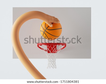 3d render, cartoon character flexible hand holds ball above basket, isolated on white background. Basketball player. Sport clip art