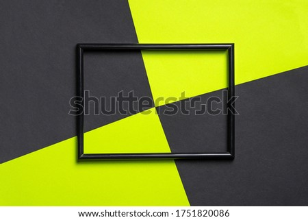Abstract geometric background with black photo frame. Minimalism, geometry concept