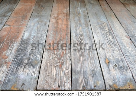 Old plank wood floor, high angle, copy space, background #1751901587
